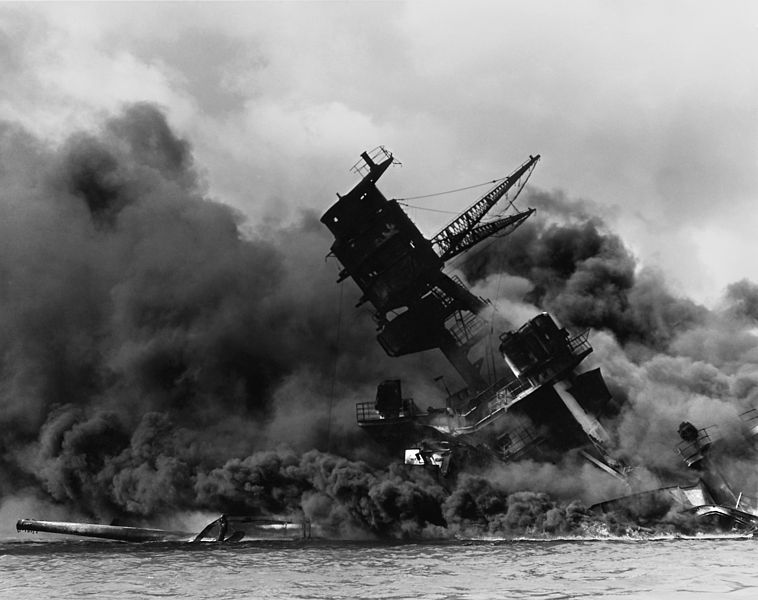 Smoke pours from the USS Arizona, one of the battleships sunk by the Japanese on Dec. 7, 1941.