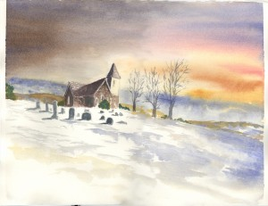 Mountain View UMC, watercolor