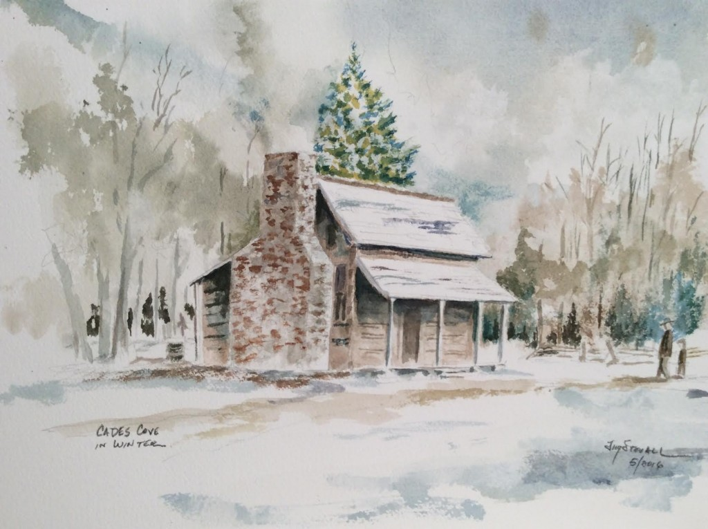 Cades Cove in winter, watercolor