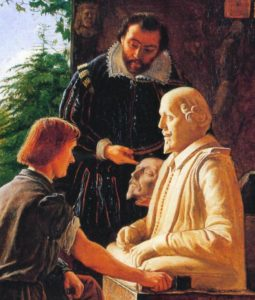 A 19th century painting of the installation of the Shakespeare bust in Stratford-on-Avon